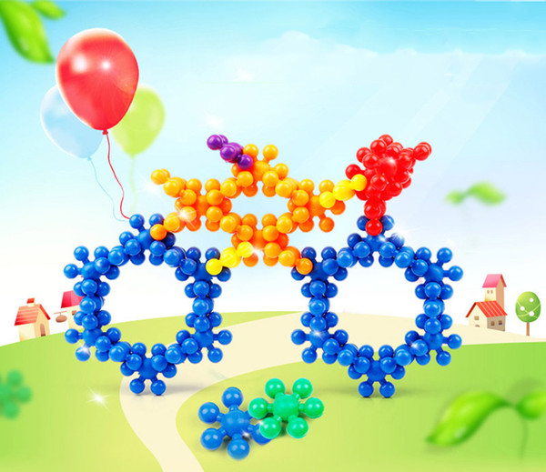 Children Plum Blossom Inserted Plastic Building Blocks Digital Puzzle Colorful Blocks Construction Educational Toys Safety Green and Tastele