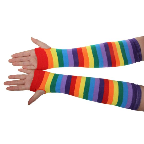 Hot Explosion Rainbow Stripe Knit Material Colorful Long Gloves Warm Soft Stockings Dance Festival Women's Set