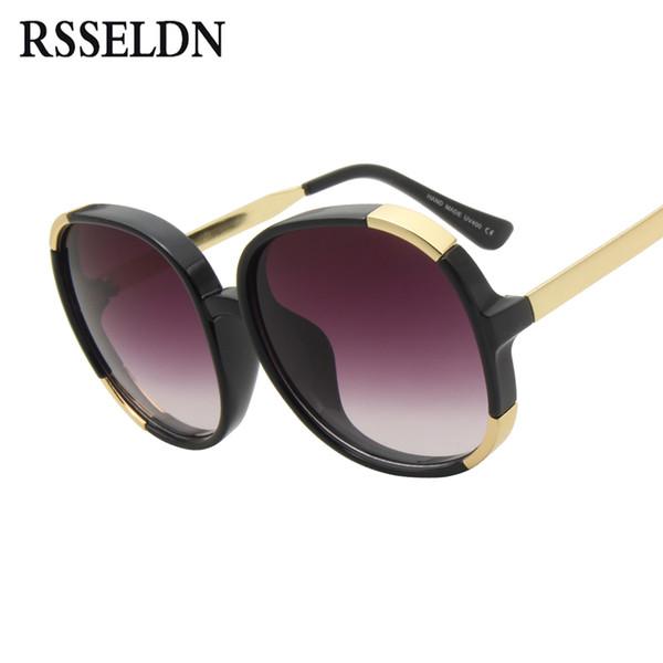 RSSELDN Nueva marca de alta calidad de lujo para mujer gafas de sol redondas mujeres de gran tamaño gafas de sol de época transparente marco Sunglass