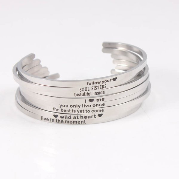 316L bracciali in acciaio inossidabile inciso Positivo Inspirational Quote Bracciale Mantra Bracciale Bangle per donna Uomo Regali