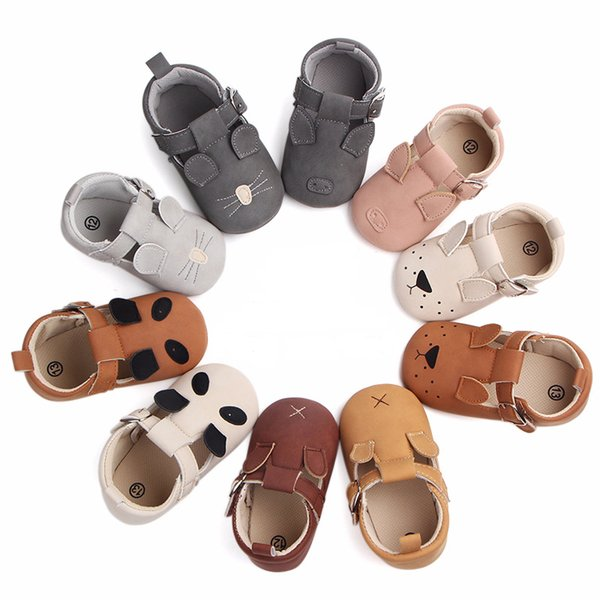 Baby Animal Newborn Shoes Girls Boys Embroidery Piggy Puppy Kitten Mouse Panda Buckle Strap Nubuck Leather Infant First Walkers 0-18M