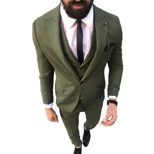 Green Men Suits for Wedding Slim Fit Groom Tuxedos Custom Made Groomsmen Suits Peaked Lapel Prom Wear 3 Pieces Jacket Pants Vest