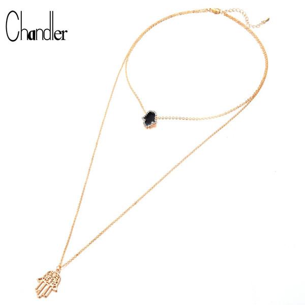 Chandler 2018 New Bohemian Multi layer Necklaces Fatima Hand Pendant Choker Long Hamsa Necklace Statement Jewelry Drop shipping
