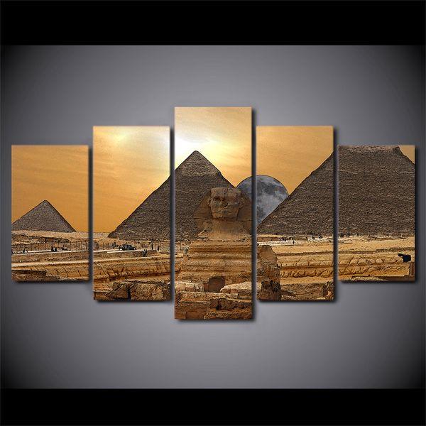 Satin Al Hd Baskili 5 Parca Tuval Sanat Misir Piramit Boyama Duvar