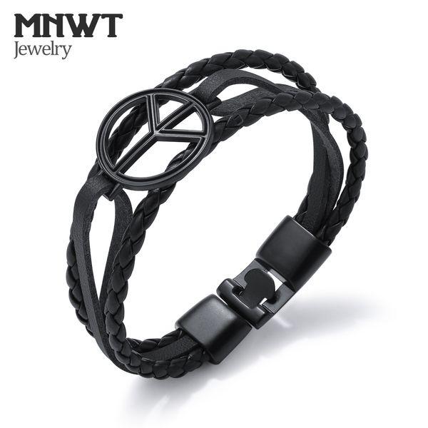 MNWT мужчины Шарм старинные браслеты многослойные плетеные кожаные браслеты черный сплав Магнит пряжки мужской браслет мода мужчины ювелирные изделия