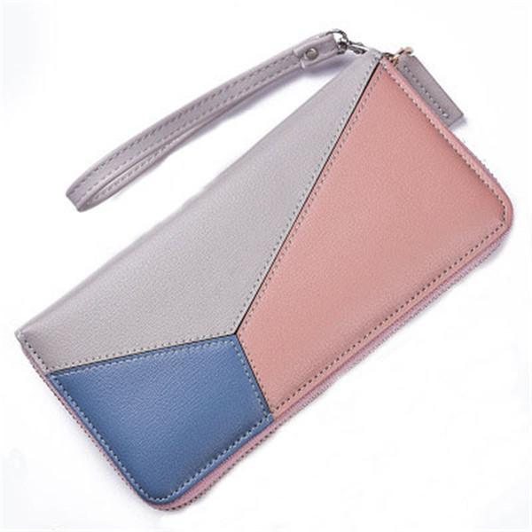 Splicing zipper phone bag High-quality leather Fashion New Korean version simple hand wild long women purse women wallet