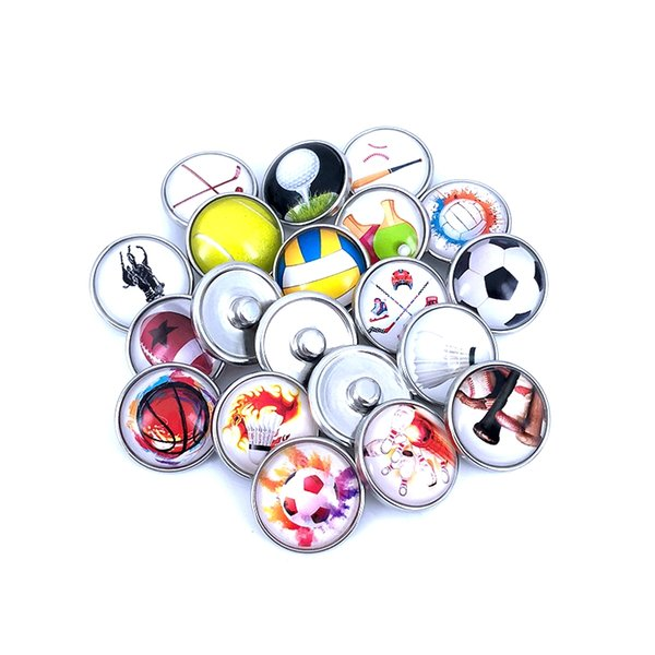 8pcs/lot 18mm 20mm Sport Football Basketball Baseball Pattern Glass Cabochon Snap Buttons for DIY Bracelet Necklace Charms N019