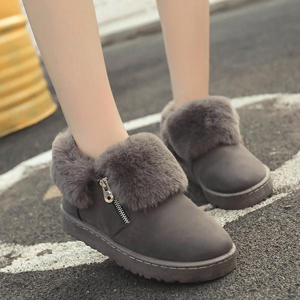 Inverno mulheres de pelúcia botas de camurça de couro feminino durável botas de neve quente pele tornozelo botas curtas senhoras zipper zv561