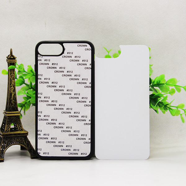 2D Rubber TPU+PC sublimation blank case for iphone 5S 6s 7 8 X 7PLUS Mixed model with metal sheet with glue free shpping 1000pcs/lot