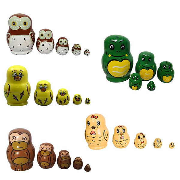 Baby Toys Matryoshka 5 Layer Wooden Animal Hand Painted Russian Nesting Dolls Home Decoration Children Gifts