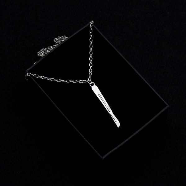 Silver Colors Scalpel Pendant Necklace Link Chain Medical Jewelry as Gift for Nurse/Doctor/Intern Great Chemistry Jewelry
