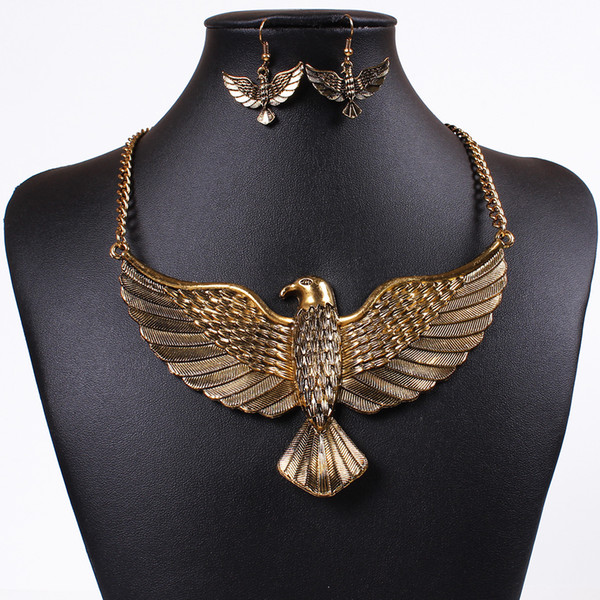 Gold Silver Tone Eagle Necklace Earrings Sets - Alloy Punk Egyptian African Style Statement Necklaces Jewelry Set Gift