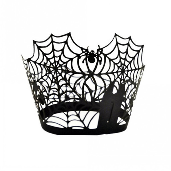 Spiderweb Laser Cut Paper Cake Cupcake Wrappers Liners Cases Baking Cup Case Wedding Birthday Party Decor (Black)