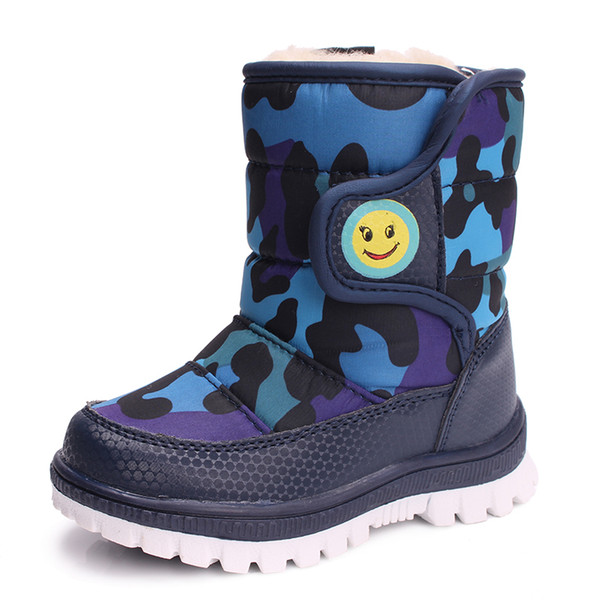 Girls Boy Boots For Kid Snow Botas Winter Warm plush Baby Boot Waterproof Soft Bottom Non-slip Leather Booties Kids Shoes