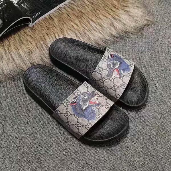 Fashion leather slide sandals slippers men women 2019 Hot tiger Designer flower printed unisex beach flip flops slipper BEST QUALITY 38-45
