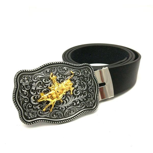 Drop shipping Black Pu leather belt men Vintage arabesque pattern with Gold Professional Bull Riders metal cowboy belt buckle