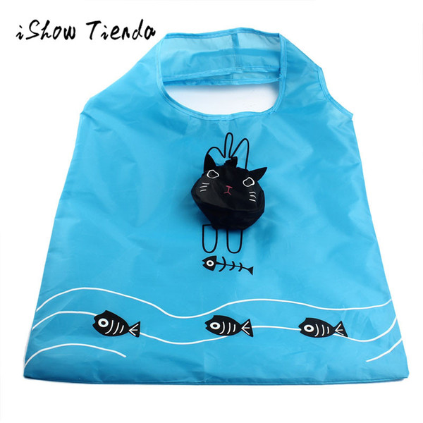 Cartoon Cat Portable Folding Bags Shopping Thicker Oversized Hand Bags organizadores de todos os tipos porta joias organizer