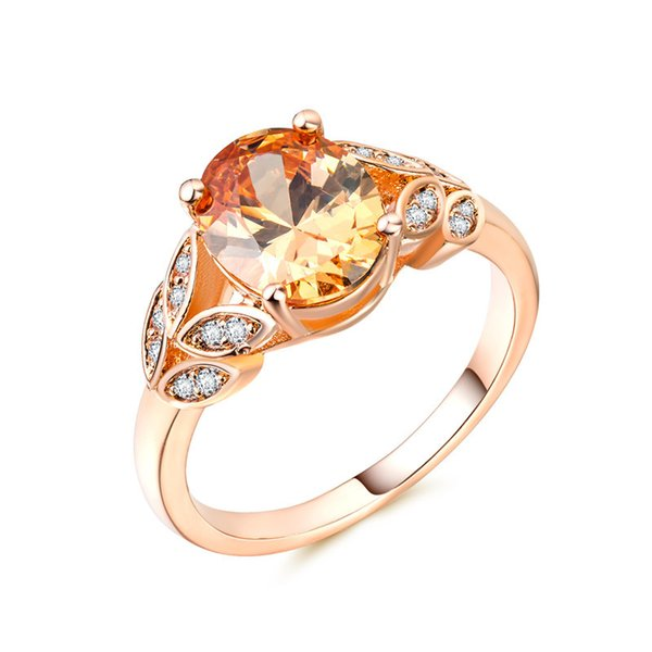Leaf Shape Gemstone Crystal Ring Wedding Ring New Design 18k Gold Plated Jewelry Rings For Women Top Quality Wholesale Jewelry 10PCS/LOT