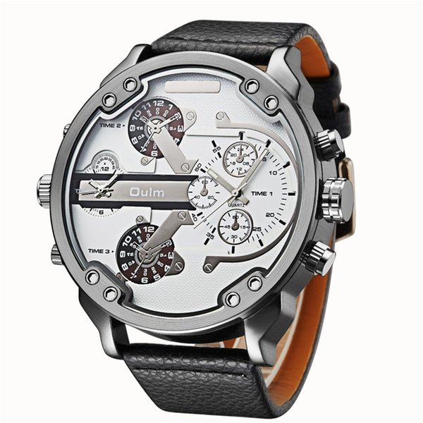 Famous Designer Mens Watches Top Quartz-Watch Oulm Leather Strap Big Face Quartz Clock relogio masculino