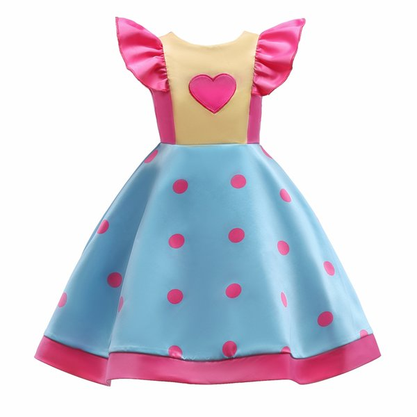 New Dot pattern bowknot Boat Neck Flying sleeve Full Satin Lovely Elegant Party Pageant Princess 3-9T Girl Dresses 2102