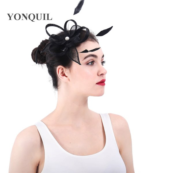 21 colors for select fascinator headwear black sinamay with feather hair accessories for party hats wedding occasion hairstyle SYF345