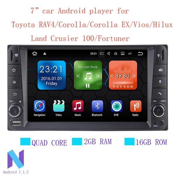 Android 7.1.2 2 din Quad Core 2G RAM car dvd player for Toyota Hilux VIOS Old Camry Prado RAV4 Prado wifi mirror link DVR Bluetooth