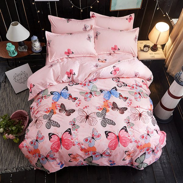 Butterfly Bed Linens High Quality 3/4pc Bedding Set duvet Cover+beds sheet+pillowcase High quality luxury soft comefortable