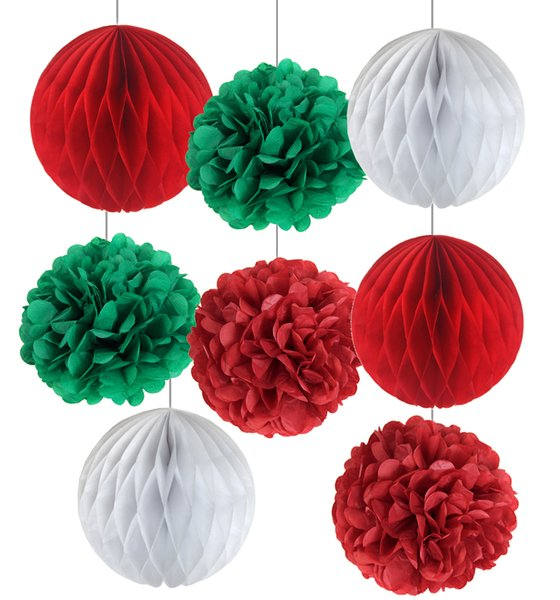 Christmas Decorations Supplies 8pcs/set Red/Green/White Honeycomb Balls Pom Poms flower Set Christmas Paper Decoration Craft
