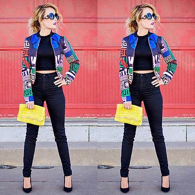 2017 nuove donne stampa floreale patchwork classico imbottito giacca bomber vintage Slim Zip Up Biker Coat Giacche Autunno autunno