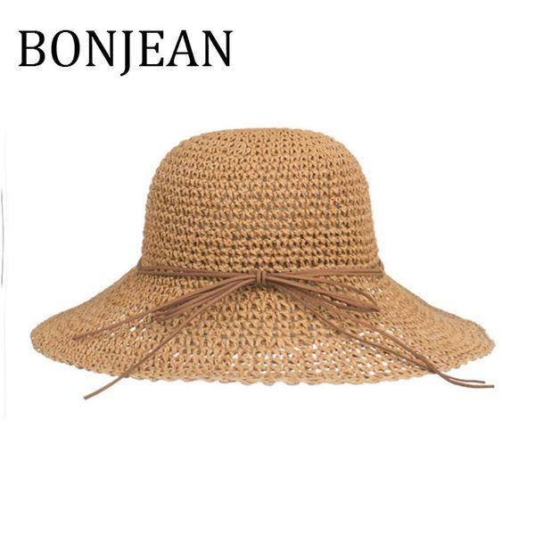 BONJEAN Handmade Hats for Women Casual Sunhats Female Straw Hats Fashionable Summer Ladies Beach and Caps BJ514