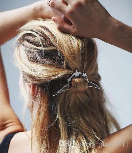 Grampos de cabelo boêmio para meninas / senhoras estrelas de prata banhado a ouro grampo de cabelo grampo de cabelo pin metal