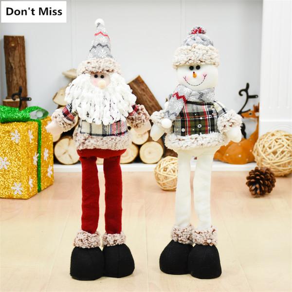 47cm Santa Claus Snowman Elk Christmas Dolls Merry Christmas Ornaments Retractable Stand Toy Navidad Xmas Decoration