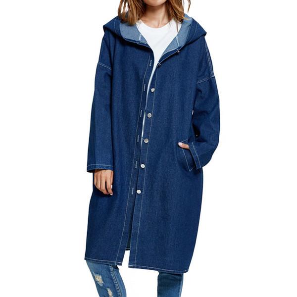 Atacado- Primavera Outono Básico Jeans Casaco Com Capuz Vintage Longo Mulheres 2017 Denim Trench Coat Bolsos Azul Escuro Sólidos Casacos Chaquetas Mujer