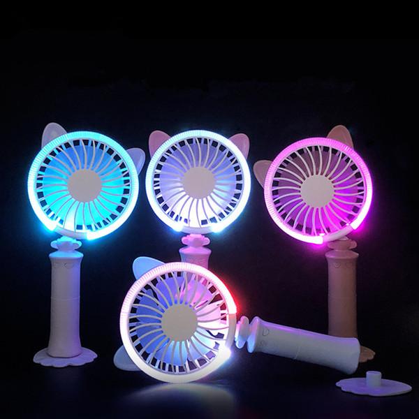 Bunte Lichter Usb-Ventilator-Handgriff-Miniladen Elektrischer Ventilator-beweglicher Handventilator Batteriebetriebener USB-Energie-Handminiventilator-Kühler mit Bügel