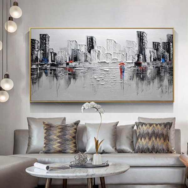 Newest gift Hand Painted Modern Large Abstract Art Home Decor Hang Picture rainy city build Handmade Oil Painting On Canvas