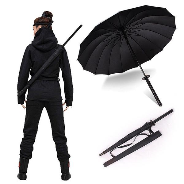 Elegante nero giapponese Samurai Ninja Sword Katana Ombrello Sunny Rainny Ombrelli a manico Semi-automatico 8, 16 o 24 costole