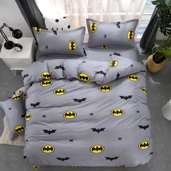 Cartone animato Copripiumino Batman Set biancheria da letto grigio Biancheria da letto per bambini Singolo Matrimoniale Queen Size Bed Lenzuola Lenzuola 4 PZ Lenzuola