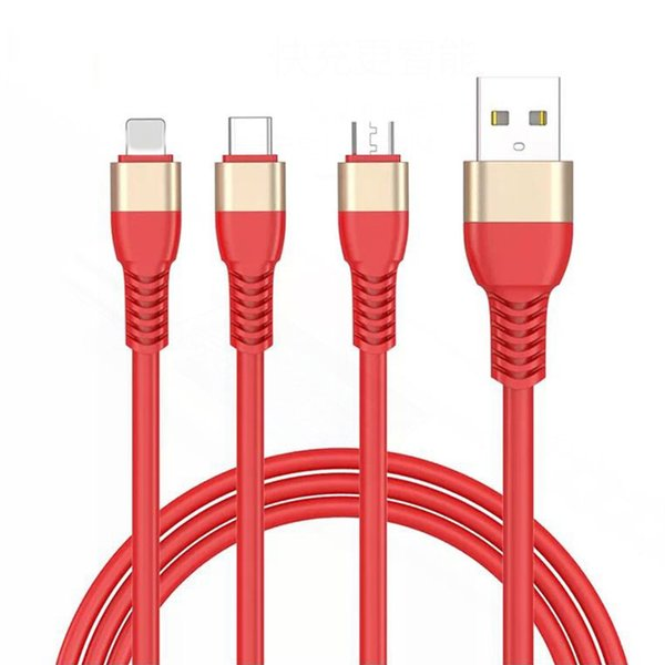JOYROOM 3in1 USB Cable Round Braided Copper Sync Data & Charging USB Cable for Samsung S9 LG G7