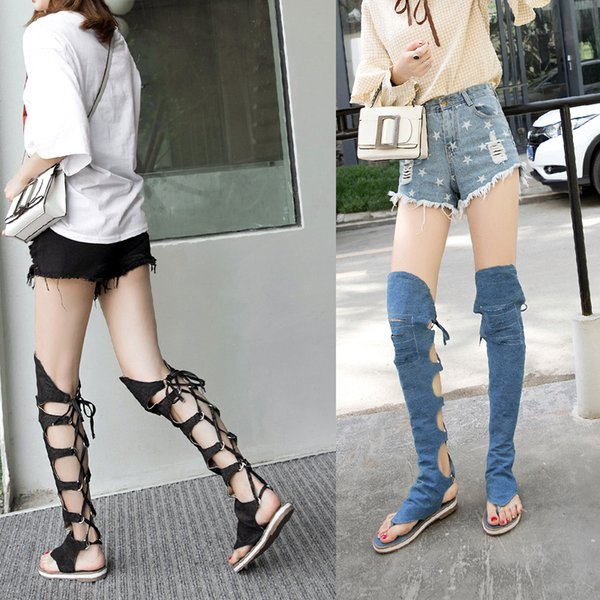 Women's Knee High Denim Sandals Boots Designer Style Fashion Sexy Summer Nightclub Party Back Lace Up Flat Heel