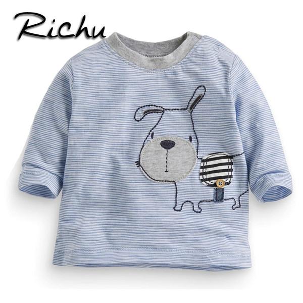 Richu 100%cotton long sleeve baby boys t-shirts girls tops 2dshirt sweat infant boy children shirts toddler striped funny animal tees tops