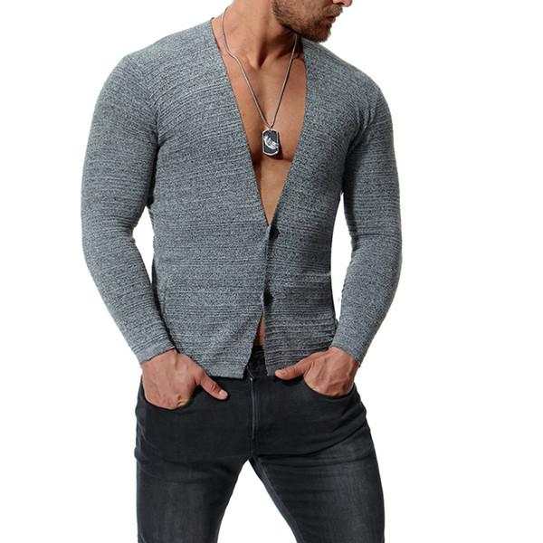 Cardigan camisola dos homens da marca de polo Sólida Slim Fit Camisolas Cardigan de manga longa de alta qualidade Homens suéter de cashmere homens J181024