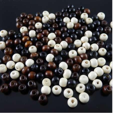 top popular Wholesale 300pcs pack Mixed Colors White Black Brown Wood Beads 7-8mm spacers fine jewelry making fit necklacebracelet gr-536 2021