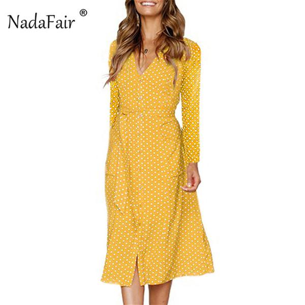 Nadafair V-Neck Lace Up Vintage Midi Dress Women High Waist Boho Dot Shirt Dresses Button Long Sleeve A-Line White Autumn Robe