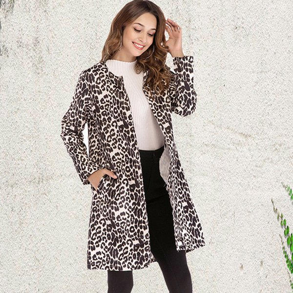 Jacket Parka Outwear Fleece Overcoat Casual Fashion Women Jackets Clothing Winter Womens Warm Long Coat Ladies Leopard