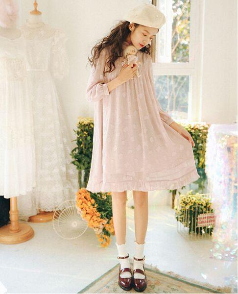 Original Design Spring Fashion Preppy Style Loose Chiffon Women Dress Casual Long Sleeve Solid Knee-Length Cute Lady Lace Dress