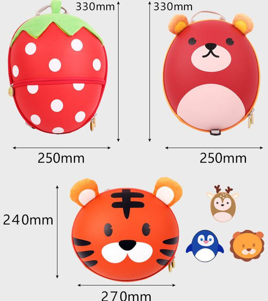 new Animal cartoon tiger penguin chick Children's schoolbag children's backpack backpacks with anti-lost school bag handbag
