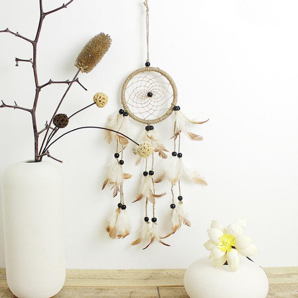 Handgemachte Dream Catcher Mit Leder Natürliche Dreamcatcher Indischen Stil Dream Catcher Auto Hängende Dekoration Kreative Hoom Ornament