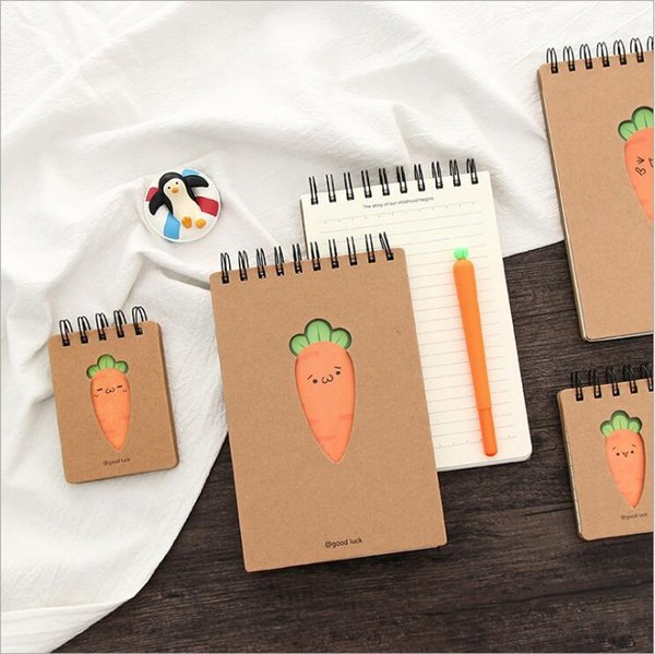 Cartoon Mini Top-Spiral Notebook, Carrot Expression Creative Coil Notepad Journal Record Book with Lined Page, Kraft Cover, 90 Sheets