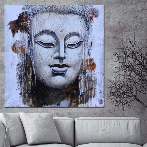1 шт. абстрактный религия Будда лицо состояние медитации Дзен картина маслом на холсте плакат современный настенный рисунок не обрамлена