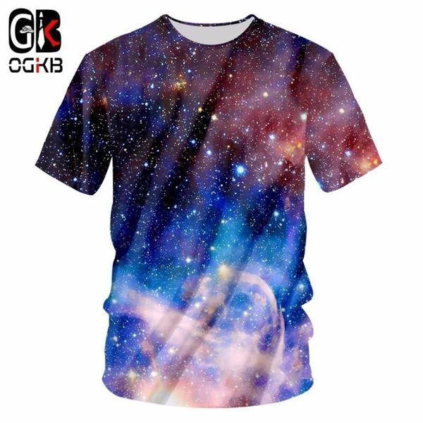 OGKB 2018 New Summer Brand Shirt Cool T Shirts Print Galaxy Space Starry Star 3d T-shirt Man Short Sleeves Casual T Shirt 7XL